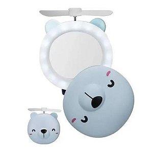Mini Espelho Led e Ventilador Portátil Porquinho/Ursinho Fan