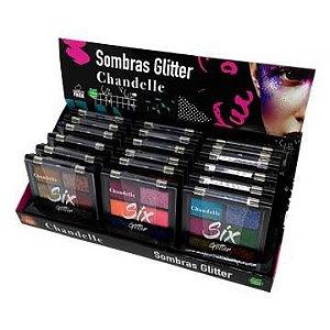 Paleta de Sombras Glitter Chandelle Cor A - Box c/ 18 unid
