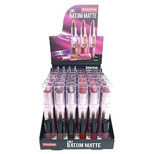 Batom Matte 2 em 1 Ruby Rose HB-8606 - Box c/ 36 unid
