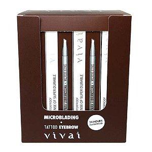 Caneta Delineadora para Sobrancelha Microblading Fio a Fio MarromVivai 2058.1.1 – Box c/ 24 unid