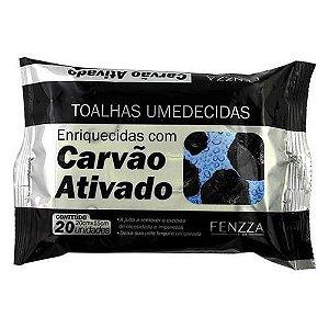 Toalhas Umedecidas de Limpeza Facial com Carvão Ativado Fenzza FZ51015