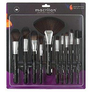 Kit com 10 Pincéis para Maquiagem Macrilan KP9-1B