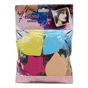 Kit de Esponja para Maquiagem Seven Colors YZ-915 – Pacote c/ 12 unid