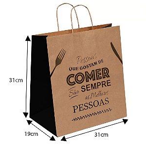 Sacola De Papel Kraft Delivery 31x19x30 ( 100unid Promoção ) - COMER