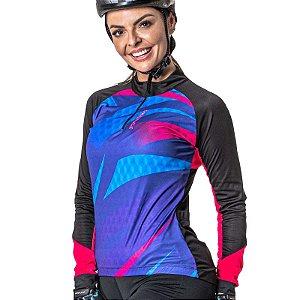 Camisa Ciclista Manga Longa Zíper Parcial Feminina Shade