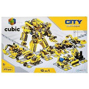 Bloco de Montar Construção Cubic 12 em 1 573 Peças Multikids