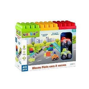 Blocos de Montar Cubic Jr Pista Com 2 Carros 40 Pcs Br1394