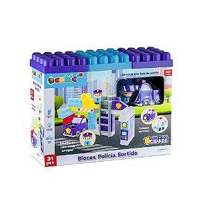 Blocos de Montar Cubic Jr Blocos Policia 31Pç Br1392