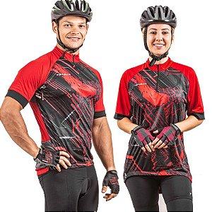Camisa Ciclista Unissex Manga Curta Zíper Parcial Hanya