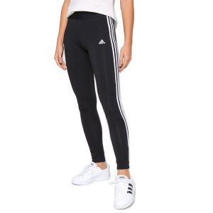 Calça Legging Feminina Preta Adidas Essentials 3 Listras