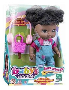Boneca Negra Influencer Baby's Collection com Acessórios