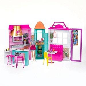Restaurante Infantil da Barbie Cozinha Grill c/Boneca 25+Pçs