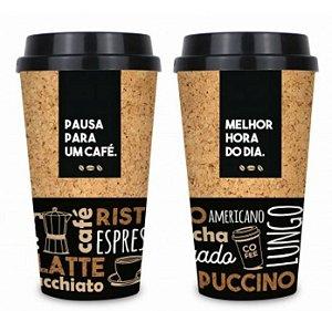 Copo de Café Cappuccino com Tampa 550ML Plástico Brasfoot