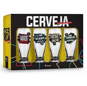Conjunto 4 200ML Copos de Cerveja Kit Cervejeiro c/Frases