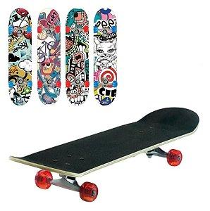 Skate Semi profissional Estampado Montado Rodas De Gel