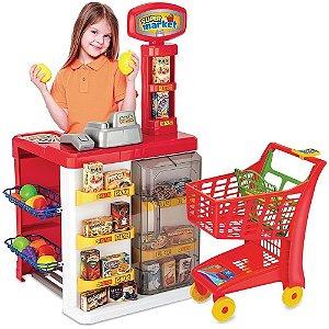 Mercadinho Infantil Super Market e Carrinho De Mercado 8039