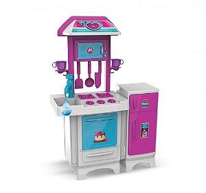 Cozinha Completa Fogão Geladeira Microondas Pia c/água 8074