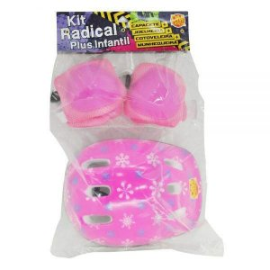 Kit Capacete Proteção Infantil Completo na cor Rosa Dm Toys