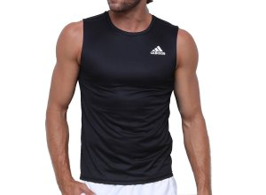 Camisa Regata Adidas D2M Listras Masculina Preto
