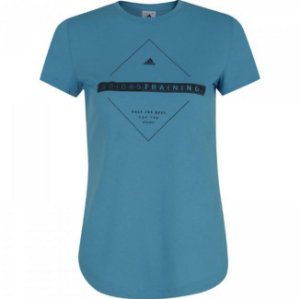 Camiseta Baby Look Adidas Bos Tee Azul Feminino