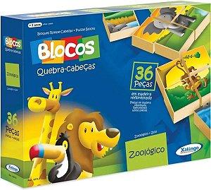 Blocos Pedagógico Peças Montar Madeira Zoológico Animais