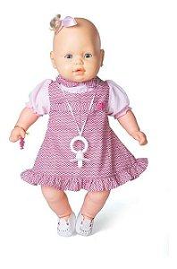 Boneca Bebezinho Vestido Rosa Listrado 49 Cm - Estrela