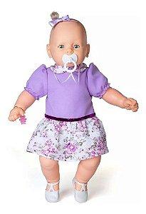 Boneca Meu Bebê Estrela- Vestido Roxo - 59 Cm