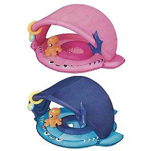 Boia Infantil Tubarão Fralda Para-Sol Azul ou Rosa 1958 MOR