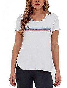 T-shirt Feminina Skin Fit Frases Inspir. Branco