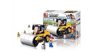 Brinquedo Blocos Construção Rolo Compressor 17 Pç - BR0539