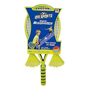 Jogo de raquetes Infantil c/ 2 Petecas DMT5914 Dm Toys