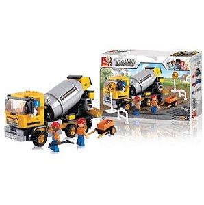 Blocos Montar Construção Caminhão Betoneira 296 Peças BR829