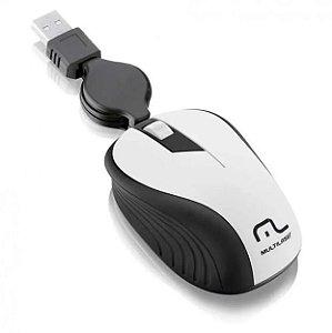 Mouse Óptico Retrátil 1200dpi Usb Branco MO234 Multilaser