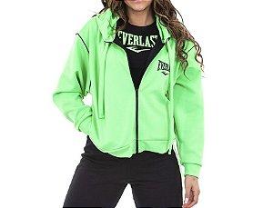 Blusa de Ziper Inteiro c/Capuz Verde Neon Feminino Everlast