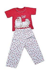 Conjunto Pijama Infantil Bicho Lhasa Apso Cara de Criança