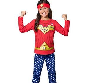 Conjunto Pijama Tam 5 Meninas Longo Mulher Maravilha Veggi