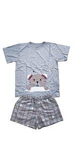 Conjunto Pijama Infantil Meninas Ursinho Cara de Criança