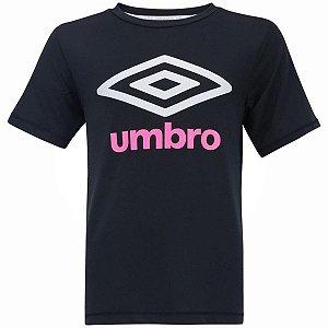 Camisa Basic UV Juvenil Preto e Rosa Umbro