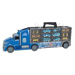 Caminhão Maleta Carreta Porta Carrinhos Policia 5928 Dm Toys