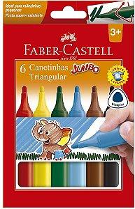 CANETA HIDROGRAFICA 6 CORES JUMBO FABER CASTELL