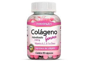 Colágeno Hidrolisado Femme + Vitaminas A, C, D, E e Zinco - 90 cápsulas - Maxinutri