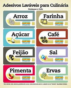 Cartela com 8 etiquetas adesivas laváveis para culinária