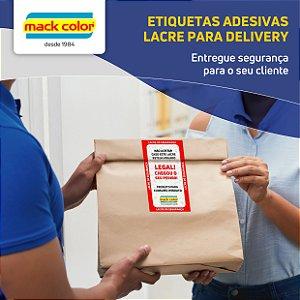 Bobina com 1.000 etiquetas adesivas (lacre) para delivery 106x61mm