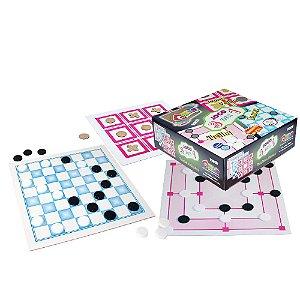 Jogo 3 em 1 : Damas, Jogo da Velha e Trilha (4 anos+)