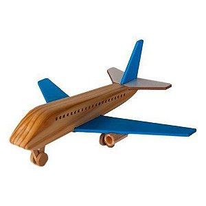 Avião Boeing de Madeira Azul (3 anos+)