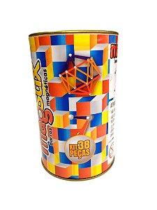 Barras Magnéticas com Esferas Magstix:  Kit 38 peças coloridas  (5 anos+)