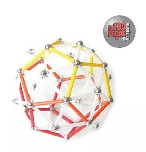 Brinquedo Magnético Magstix Kit Geodésica 130 Peças