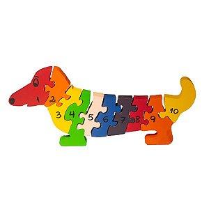 Quebra cabeça Cachorro com números 1 a 10
