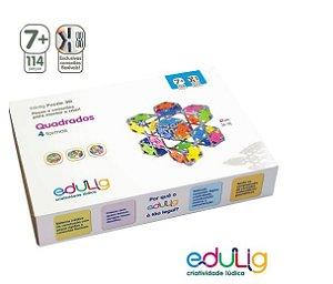Quebra-cabeca Edulig Puzzle 3D Quadrados 4 formas - 104 pecas e conexoes