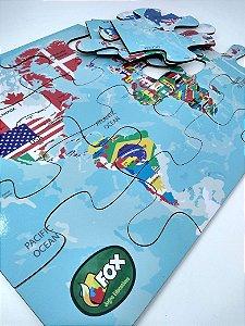 Quebra Cabeça Grande em Madeira Mapa Mundi Inglês